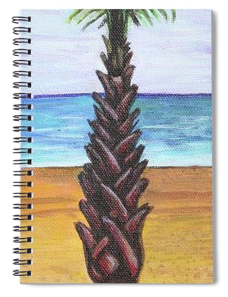 Palm Tree Spiral Notebook featuring the painting 1st Street Palm by Kate Fortin