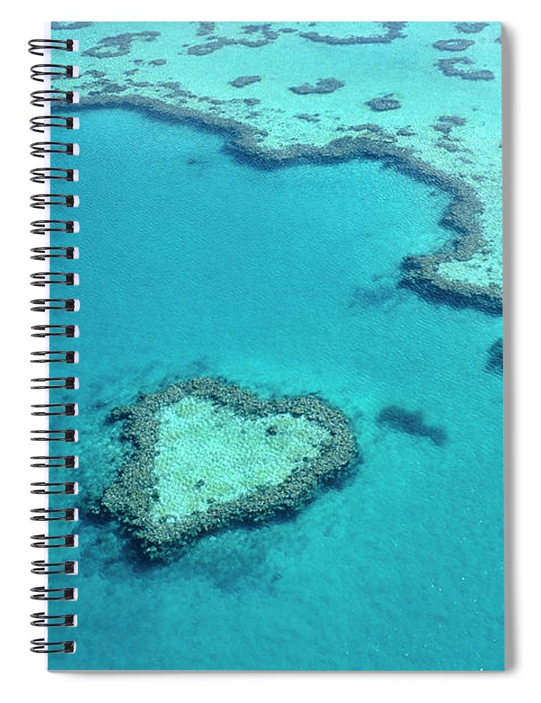 Seascape Spiral Notebook featuring the photograph Aerial Of Heart-shaped Reef At Hardy by Holger Leue