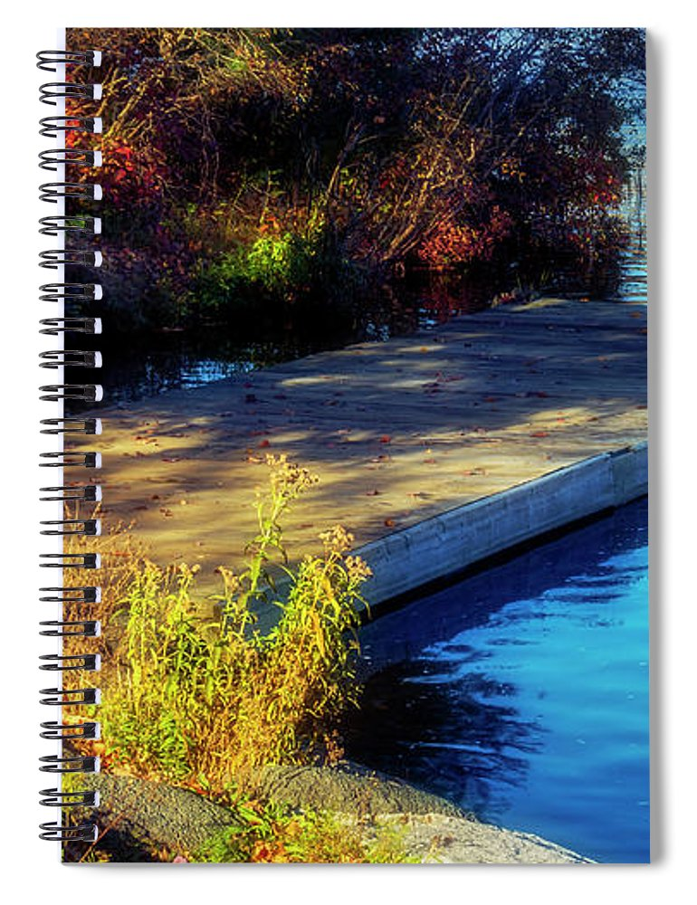 2018 Spiral Notebook featuring the digital art Autumn Colors In Kearney Lake by Ken Morris
