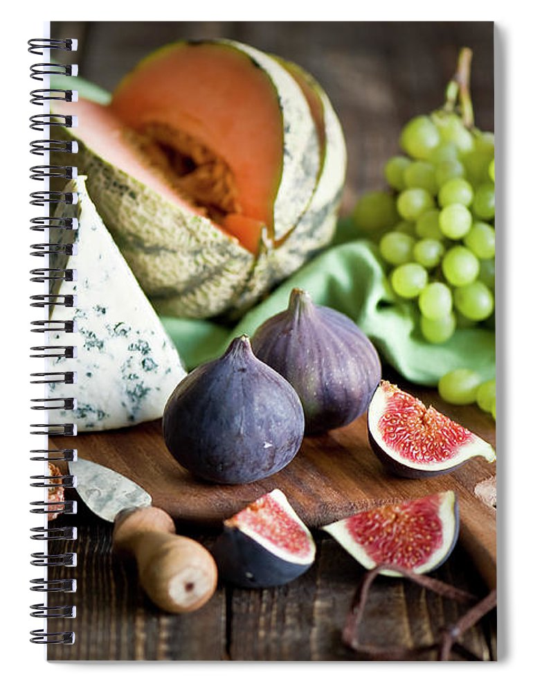 Large Group Of Objects Spiral Notebook featuring the photograph Cheese Board by Verdina Anna