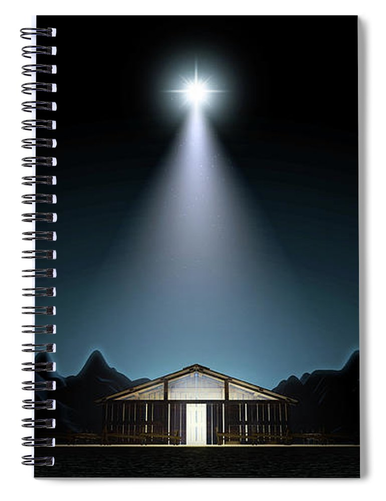 Christmas Spiral Notebook featuring the digital art Christ's Birth In A Stable by Allan Swart