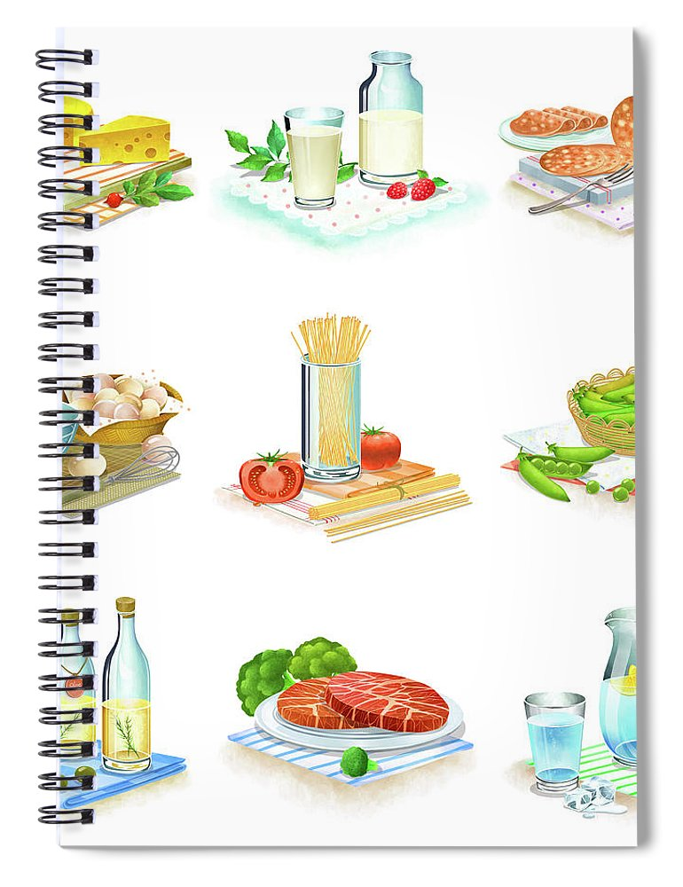 Milk Spiral Notebook featuring the digital art Close-up Of Food Stuff by Eastnine Inc.