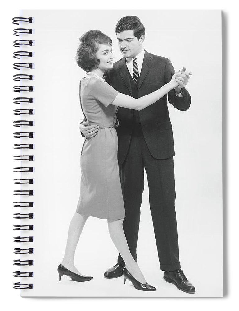 Heterosexual Couple Spiral Notebook featuring the photograph Couple Dancing In Studio, B&w by George Marks