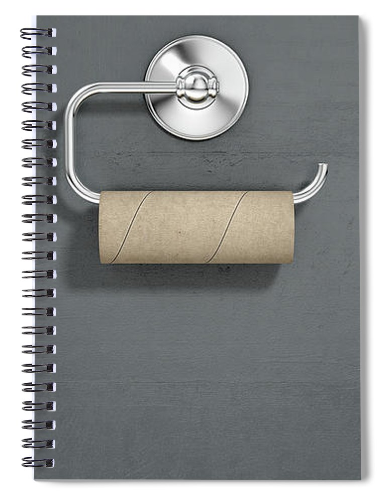 Toilet Spiral Notebook featuring the digital art Empty Toilet Roll On Chrome Hanger 2 by Allan Swart