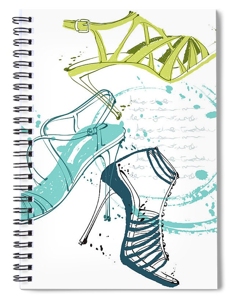 White Background Spiral Notebook featuring the digital art Feminine Shoes by Eastnine Inc.