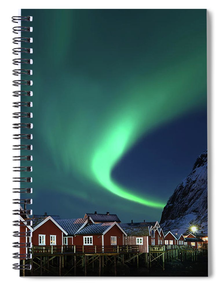Scenics Spiral Notebook featuring the photograph Northern Lights - Aurora Borealis Over by Relaxfoto.de