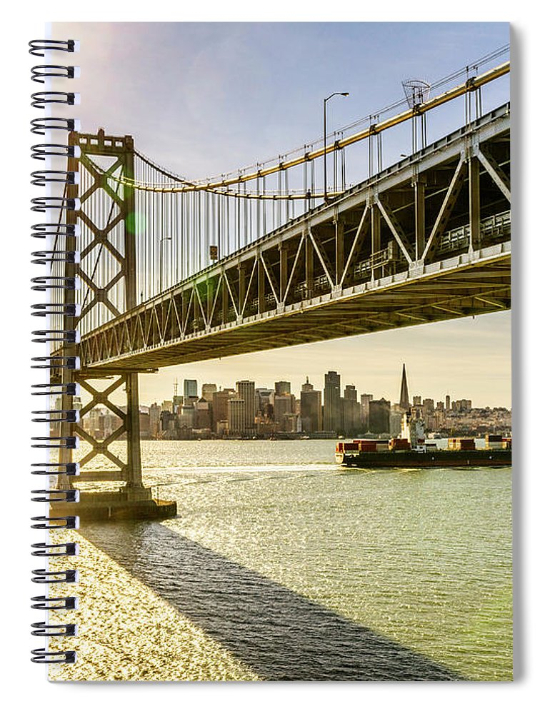 Scenics Spiral Notebook featuring the photograph Bay Bridge And Skyline Of San Francisco by Chinaface