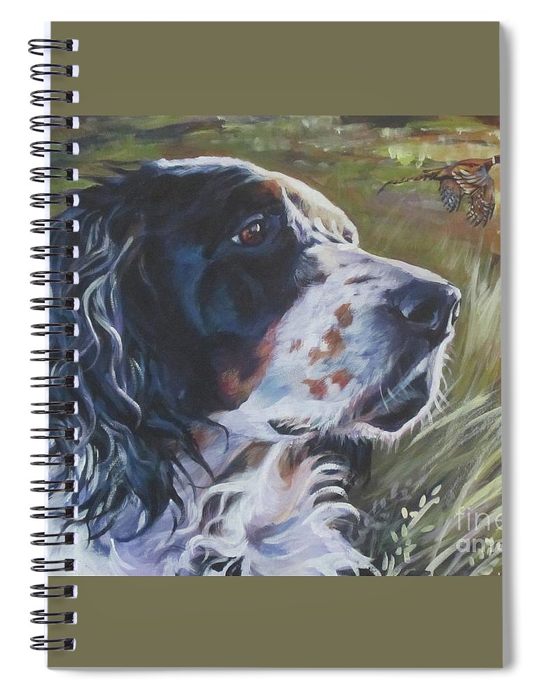 English Setter Spiral Notebook featuring the painting English Setter In The Field by Lee Ann Shepard