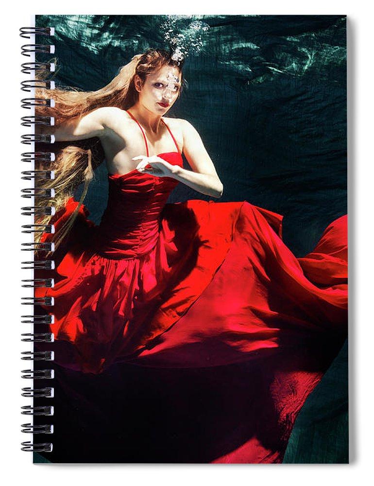 Ballet Dancer Spiral Notebook featuring the photograph Female Dancer Performing Under Water by Henrik Sorensen
