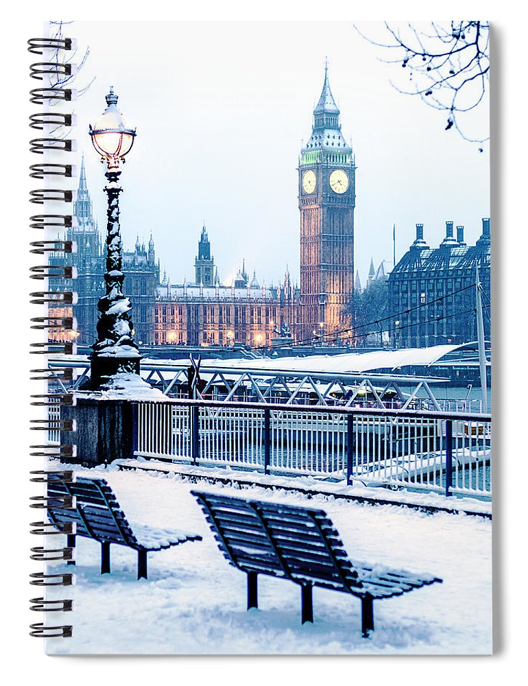 Clock Tower Spiral Notebook featuring the photograph Houses Of Parliament In The Snow by Doug Armand