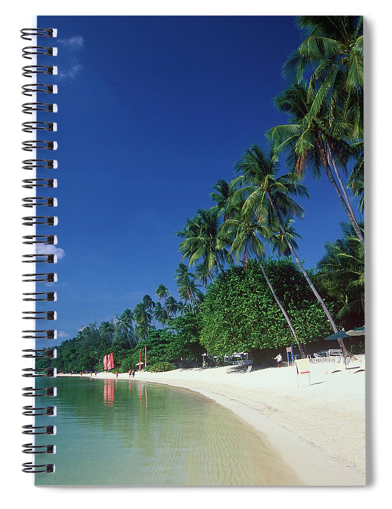 Water's Edge Spiral Notebook featuring the photograph Palm Trees At Sandy Chaweng Beach by Otto Stadler