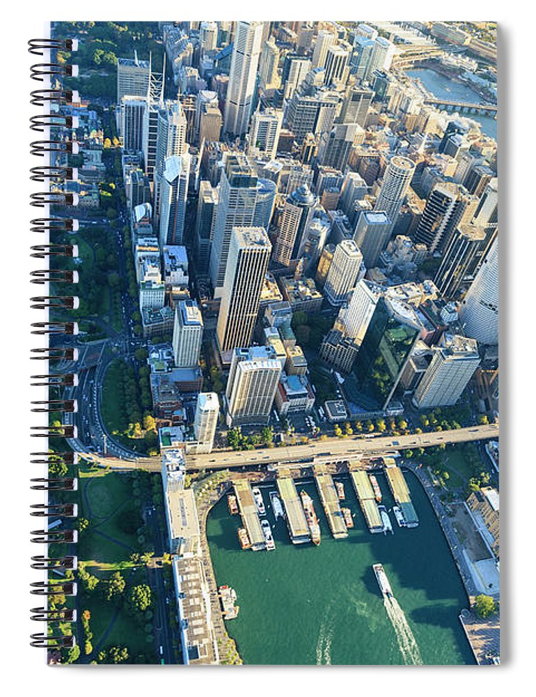 Shadow Spiral Notebook featuring the photograph Sydney Downtown - Aerial View by Btrenkel
