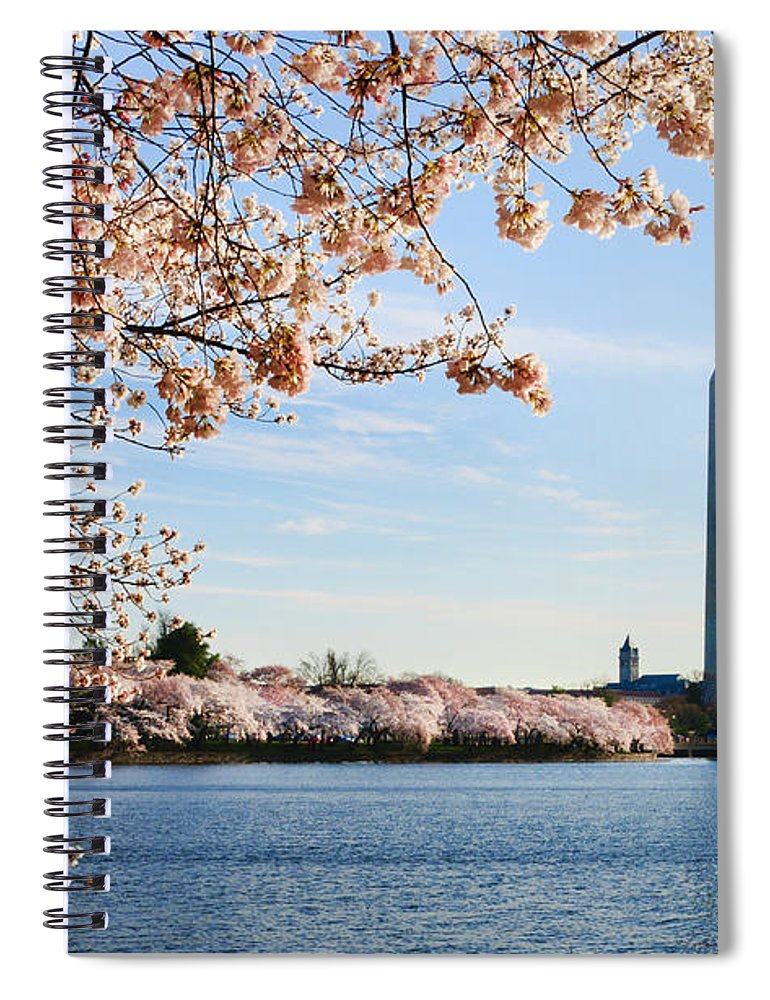 Tidal Basin Spiral Notebook featuring the photograph Washington Dc Cherry Blossoms And by Ogphoto