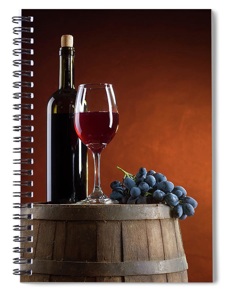 Rose Wine Spiral Notebook featuring the photograph White Wine Composition by Valentinrussanov