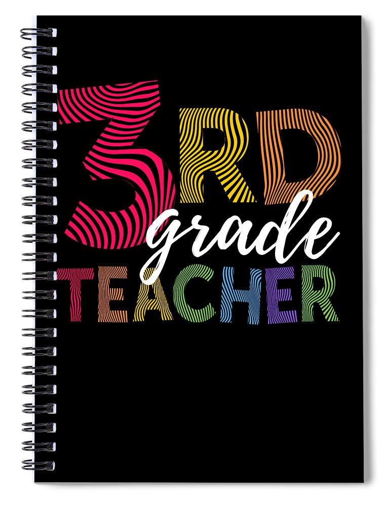 Funny Spiral Notebook featuring the digital art 3rd Grade Teacher Light by J P