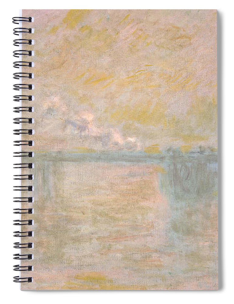Claude Monet Spiral Notebook featuring the painting Charing-cross Bridge In London - by Claude Monet
