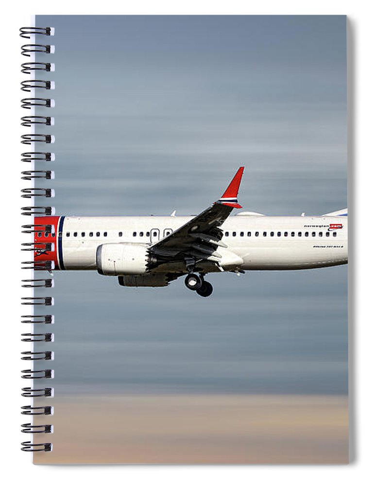 Norwegian Spiral Notebook featuring the mixed media Norwegian Boeing 737 Max 8 by Smart Aviation