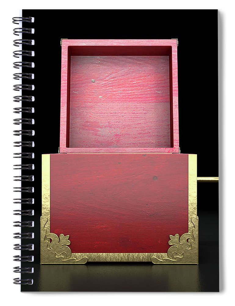 Box Spiral Notebook featuring the digital art Open Jack-in-the-box Antique 4 by Allan Swart