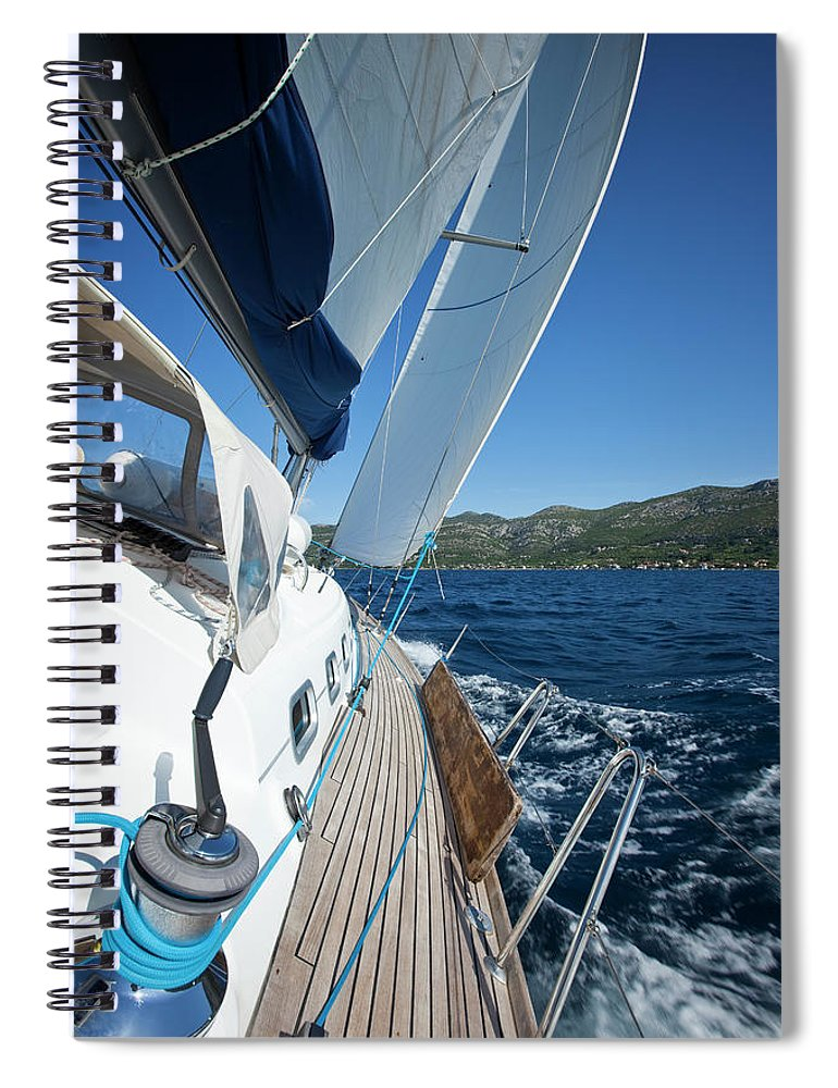 Curve Spiral Notebook featuring the photograph Sailing In The Wind With Sailboat by Mbbirdy
