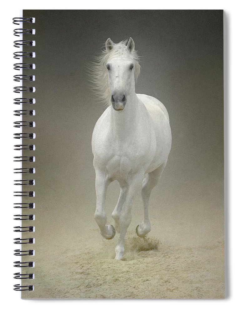 Horse Spiral Notebook featuring the photograph White Horse Galloping by Christiana Stawski
