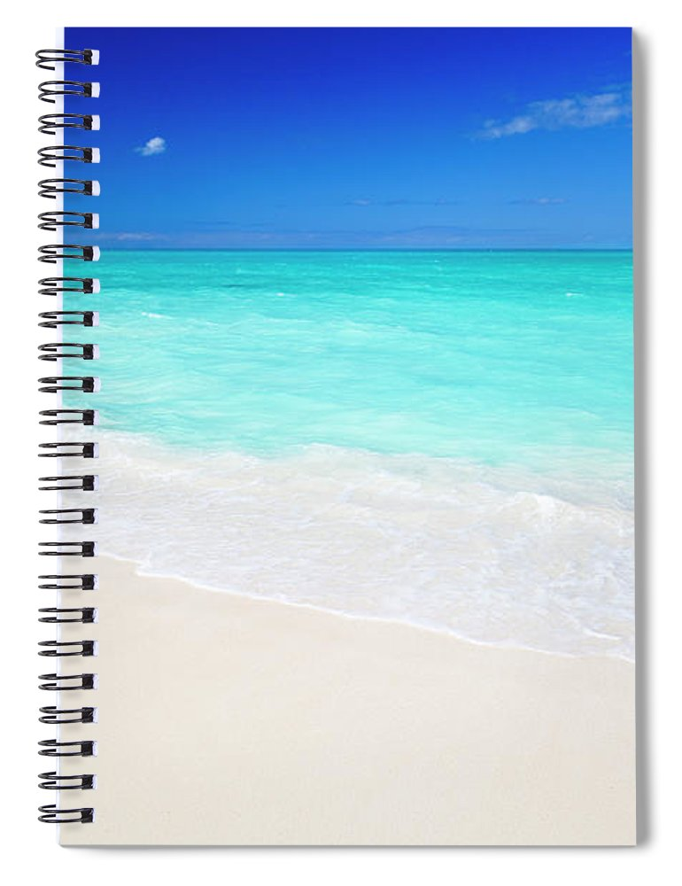 Water's Edge Spiral Notebook featuring the photograph Clean White Caribbean Beach With Blue by Michaelutech