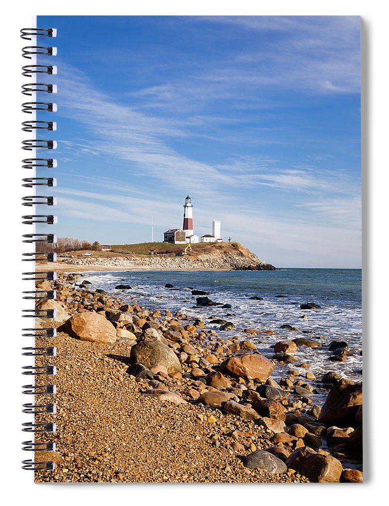 Headland Spiral Notebook featuring the photograph Lighthouse At Montauk Point, Long by Alex Potemkin