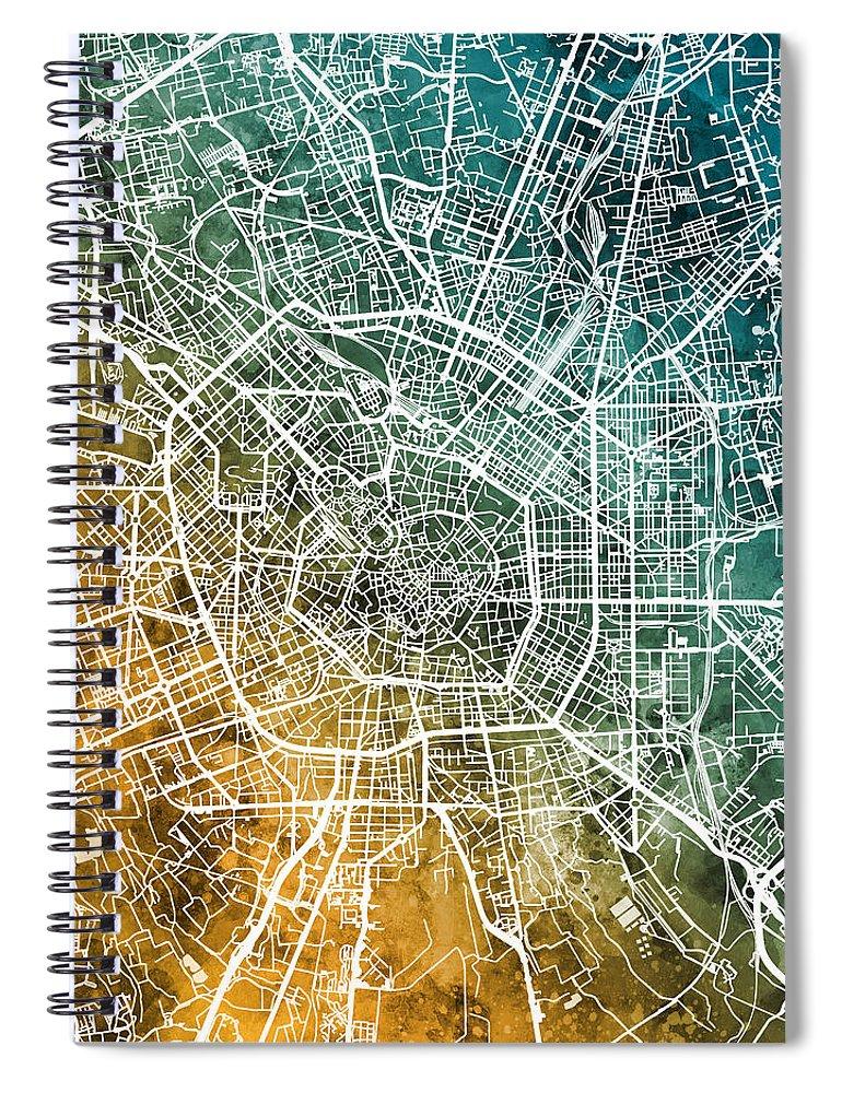 Milan Spiral Notebook featuring the digital art Milan Italy City Map by Michael Tompsett
