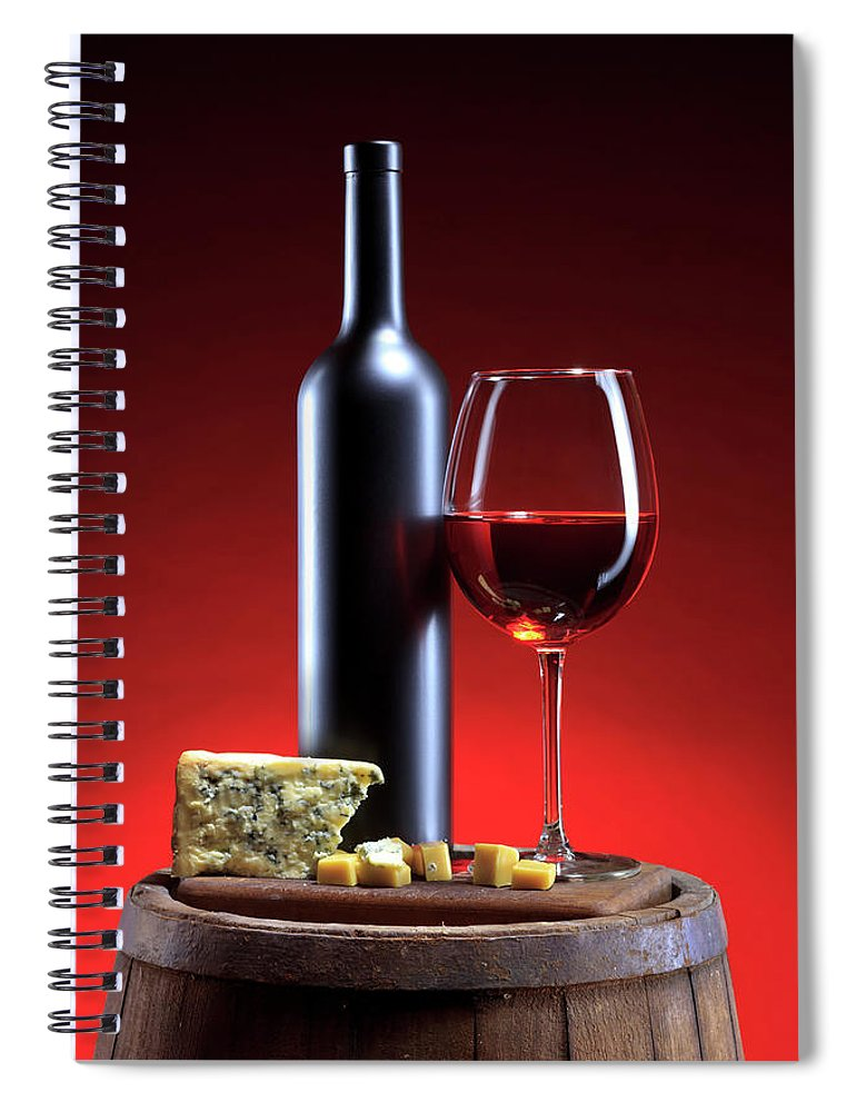 Cheese Spiral Notebook featuring the photograph Red Wine Composition by Valentinrussanov