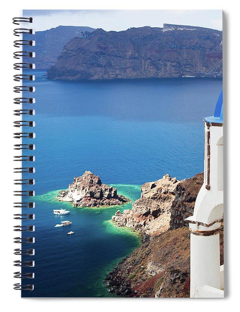 Greek Culture Spiral Notebook featuring the photograph Santorini, Greece by Traveler1116