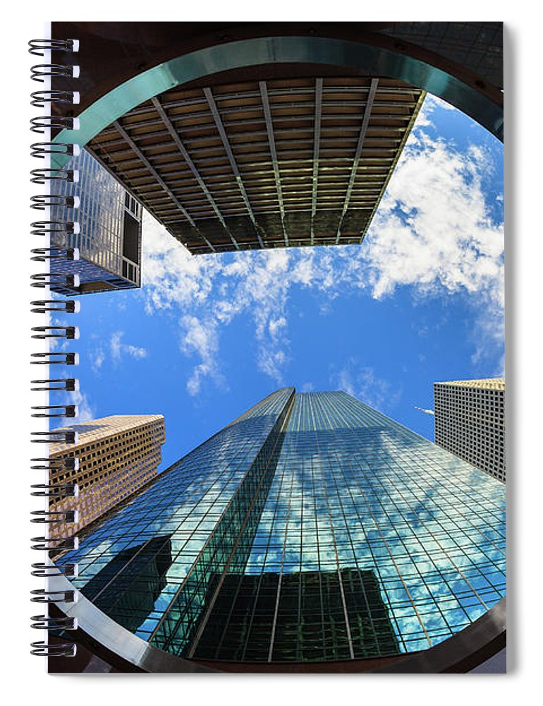 Abstract Spiral Notebook featuring the photograph Skyscrapers by Raul Rodriguez