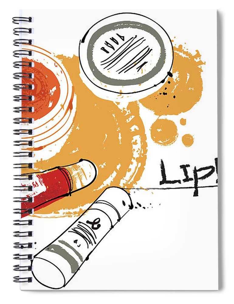 White Background Spiral Notebook featuring the digital art Cosmetics by Eastnine Inc.