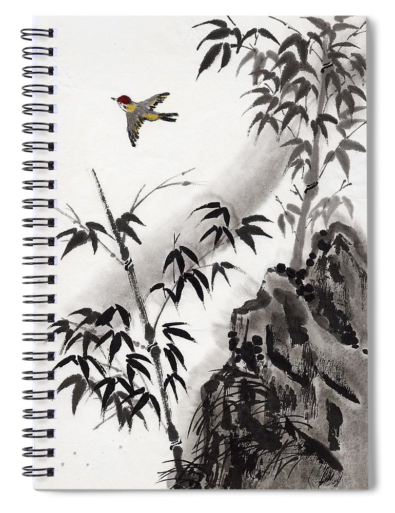 Scenics Spiral Notebook featuring the digital art A Bird And Bamboo Leaves, Ink Painting by Daj
