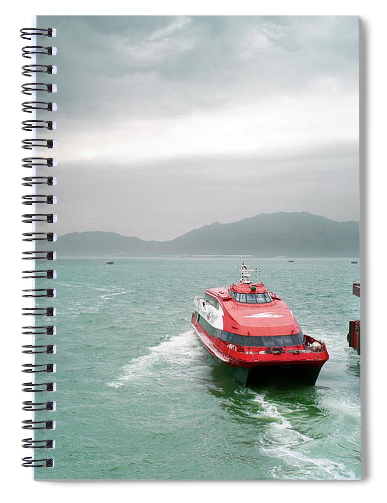 Macao Spiral Notebook featuring the photograph A Catamaran Ferry Docks At A Port by Xpacifica