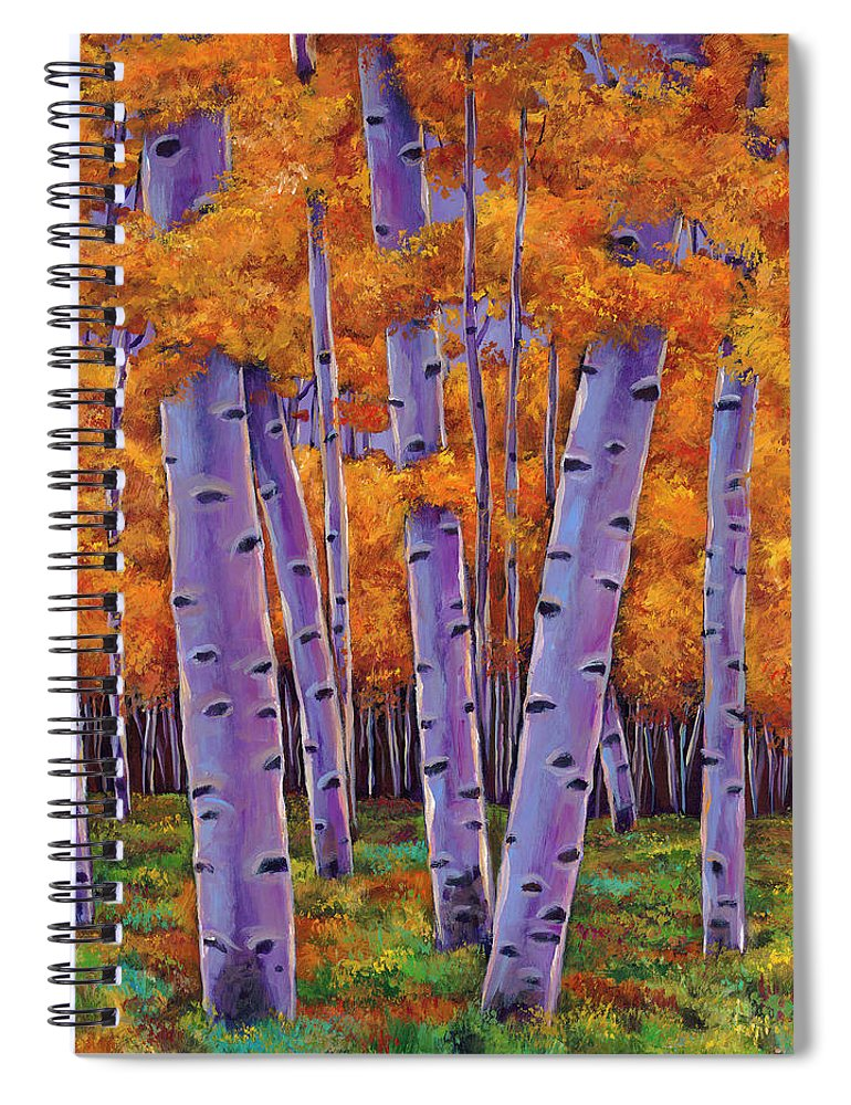 Aspen Trees Spiral Notebook featuring the painting A Chance Encounter by Johnathan Harris