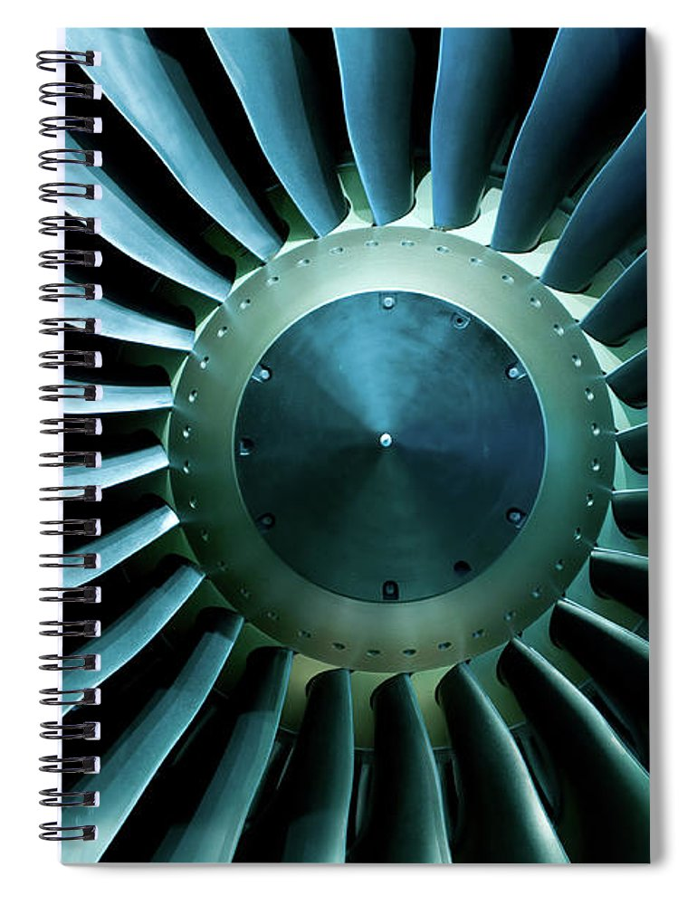 Material Spiral Notebook featuring the photograph A Close Of Up A Turbine Showing The by Brasil2