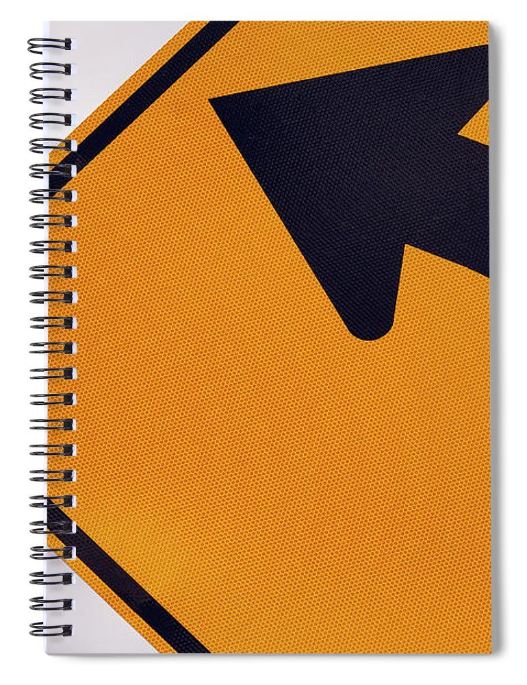 Curve Spiral Notebook featuring the photograph A Curve Ahead Road Sign Warning by Martin Ruegner