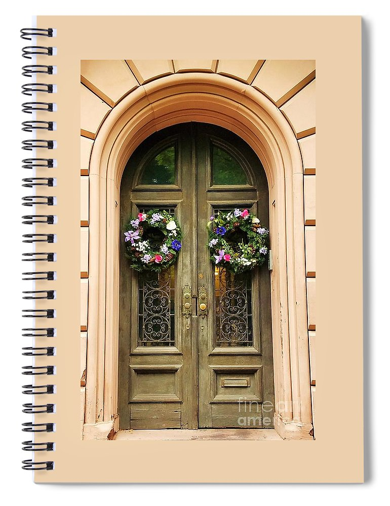 Mount Vernon Spiral Notebook featuring the photograph A Doorway In Mount Vernon In Spring by Marcus Dagan