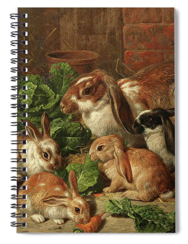 Family Of Rabbits Spiral Notebook featuring the painting A Family Of Rabbits by Alfred Richardson Barber