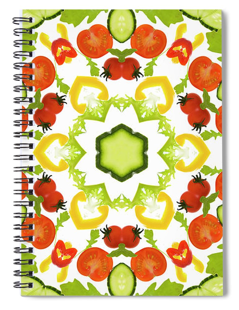 White Background Spiral Notebook featuring the photograph A Kaleidoscope Image Of Salad Vegetables by Andrew Bret Wallis