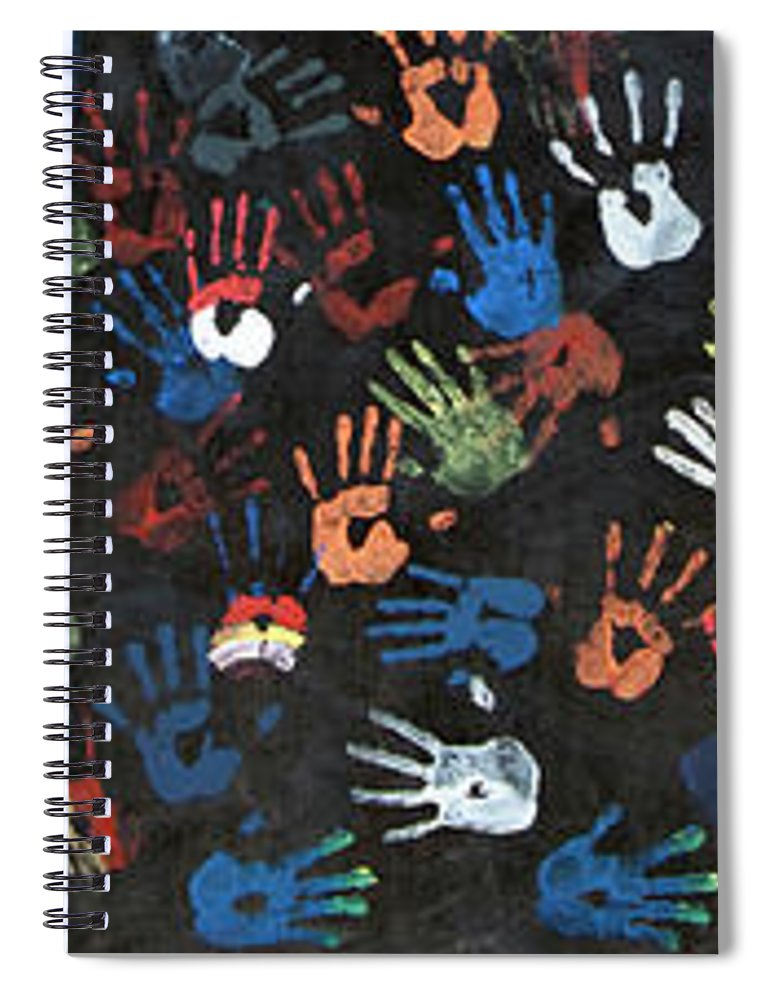 Child Spiral Notebook featuring the photograph A Painting Of Colorful Handprints by Khananastasia