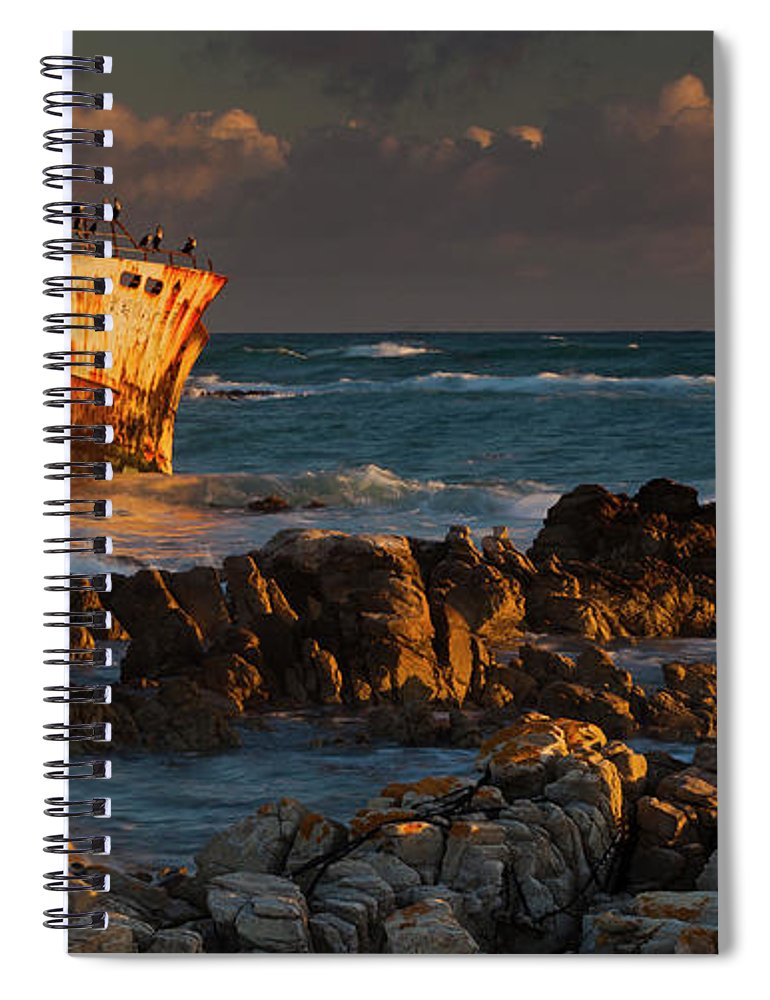 Non-urban Scene Spiral Notebook featuring the photograph A Rusting Wreck, An Abandoned Ship Off by Mint Images - Art Wolfe