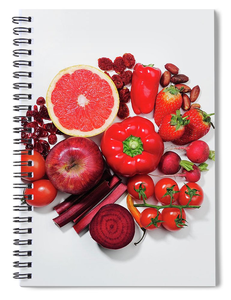 White Background Spiral Notebook featuring the photograph A Selection Of Red Fruits & Vegetables by David Malan