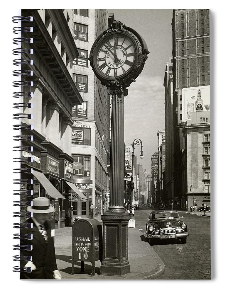 Public Mailbox Spiral Notebook featuring the photograph A Street Clock On Fifth Ave., Nyc by George Marks