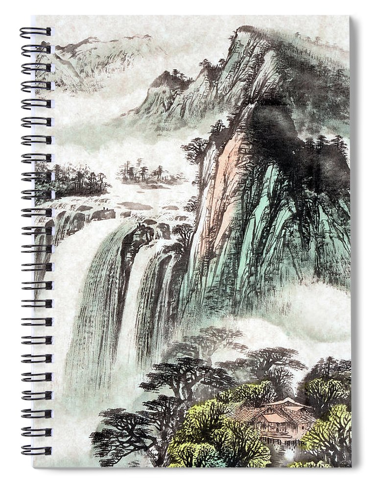 Chinese Culture Spiral Notebook featuring the digital art A Stunning Colored Sketch Of A by Vii-photo