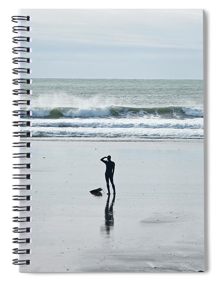 Young Men Spiral Notebook featuring the photograph A Surfer Watches The Waves Before by Mark Marchesi