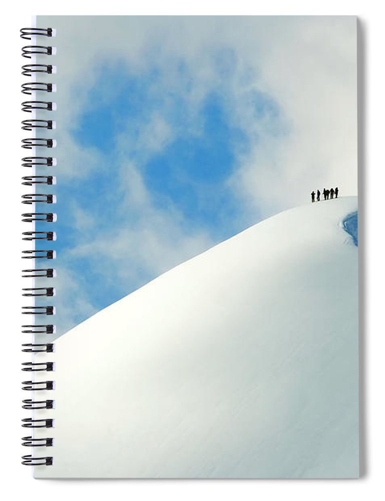 The End Spiral Notebook featuring the photograph A Team Of People Climbing A Snowy by Lopurice