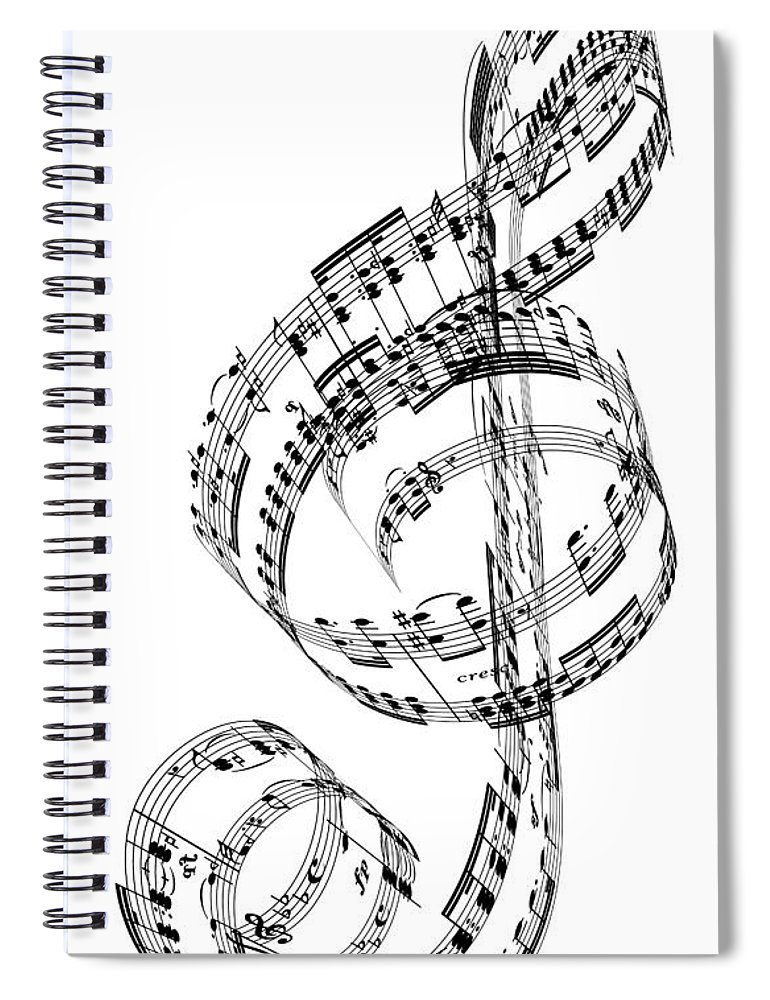Sheet Music Spiral Notebook featuring the digital art A Treble Clef Made From Beethovens by Ian Mckinnell