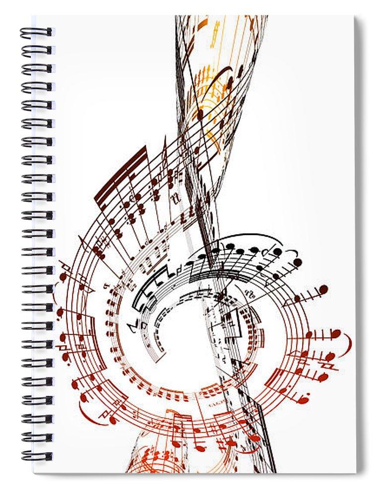 Sheet Music Spiral Notebook featuring the digital art A Treble Clef Made From Sheet Music by Ian Mckinnell
