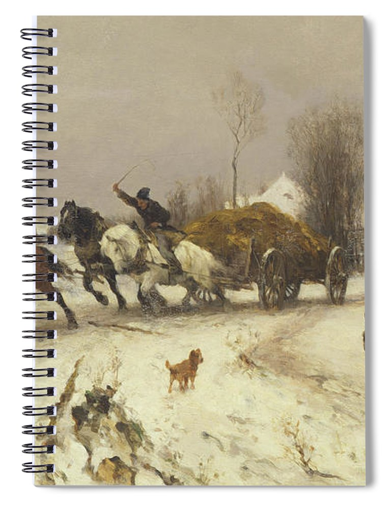 Horse Spiral Notebook featuring the painting A Village In Winter, 1876 by Thomas Ludwig Herbst