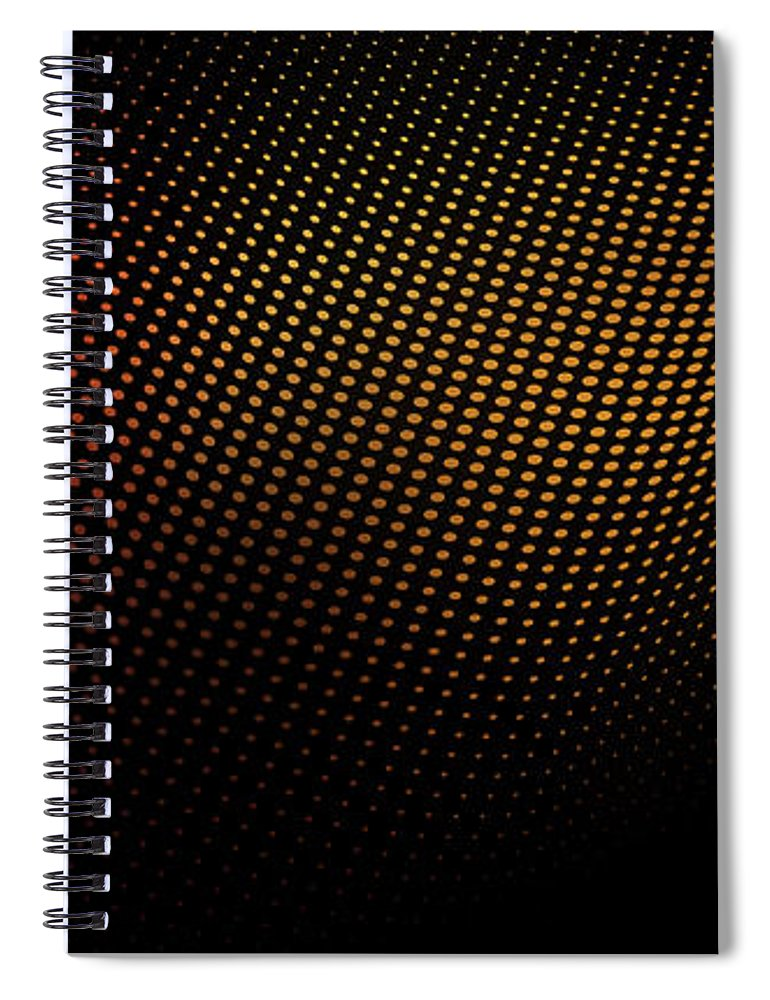 Shadow Spiral Notebook featuring the digital art A Wave Pattern Of Dots Over Shadow by Ralf Hiemisch